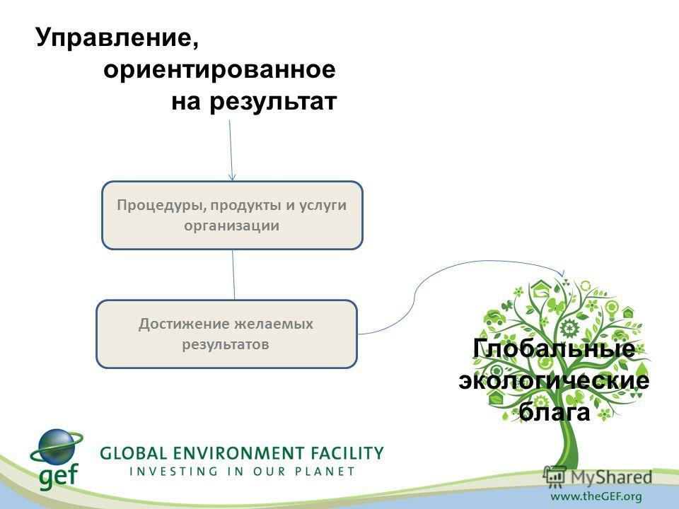 Управление, ориентированное на результат Глобальные экологические блага Процедуры, продукты и услуги организации Достижение желаемых результатов