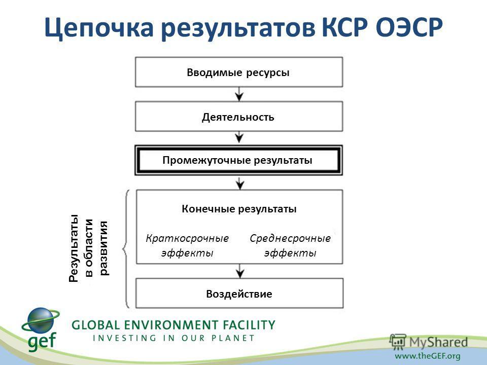 Цепочка результатов КСР ОЭСР Вводимые ресурсы Промежуточные результаты Деятельность Результаты в области развития Воздействие Конечные результаты Краткосрочные эффекты Среднесрочные эффекты