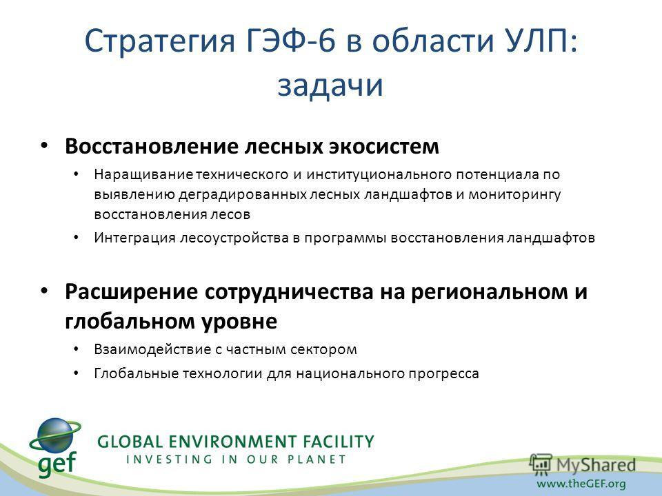 Стратегия ГЭФ-6 в области УЛП: задачи Восстановление лесных экосистем Наращивание технического и институционального потенциала по выявлению деградированных лесных ландшафтов и мониторингу восстановления лесов Интеграция лесоустройства в программы вос
