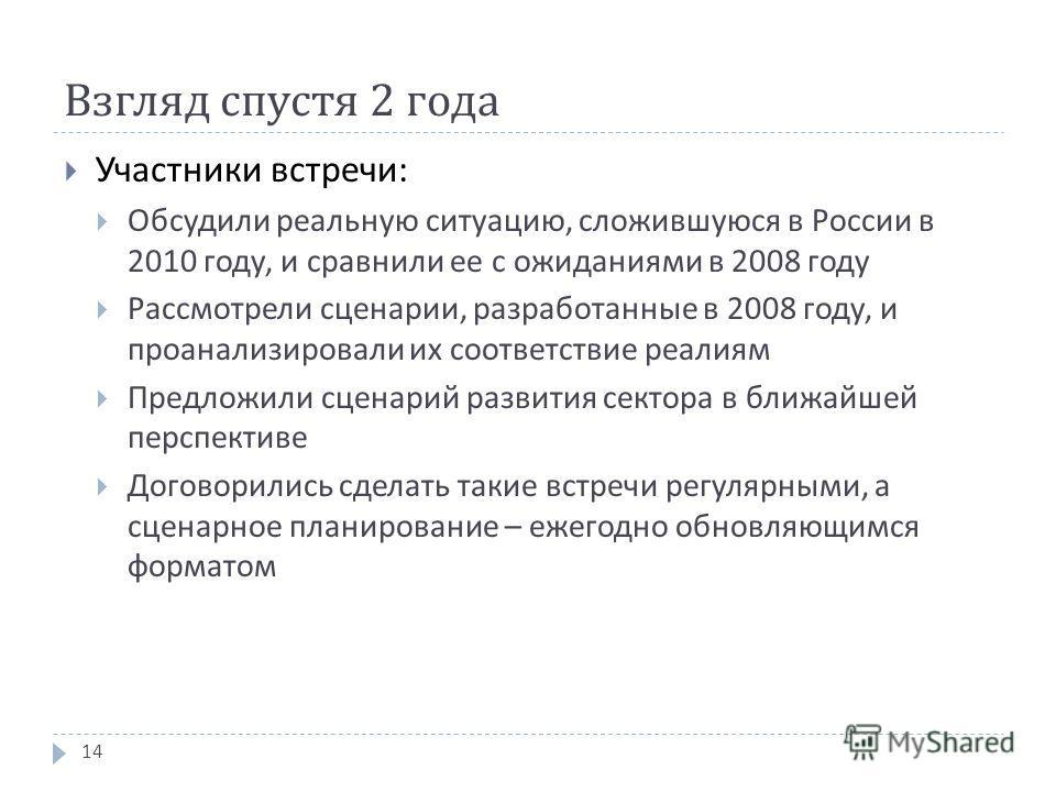 Взгляд спустя 2 года Участники встречи : Обсудили реальную ситуацию, сложившуюся в России в 2010 году, и сравнили ее с ожиданиями в 2008 году Рассмотрели сценарии, разработанные в 2008 году, и проанализировали их соответствие реалиям Предложили сцена