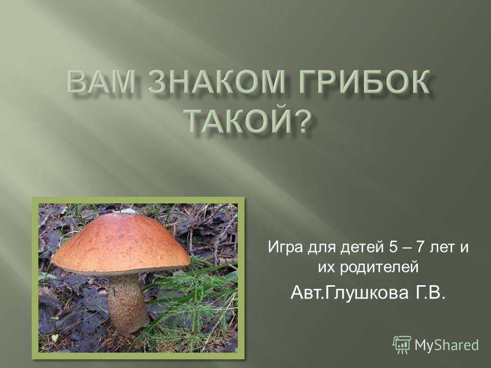 Игра для детей 5 – 7 лет и их родителей Авт. Глушкова Г. В.
