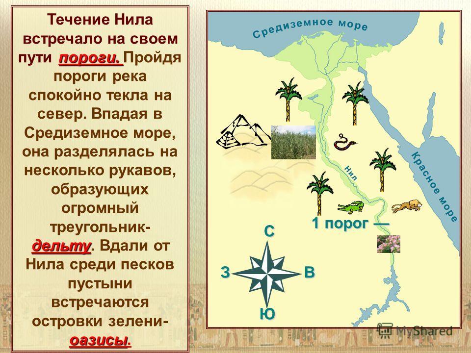 C З В Ю 1 порог 1 порог пороги. дельту оазисы пороги. дельту оазисы Течение Нила встречало на своем пути пороги. Пройдя пороги река спокойно текла на север. Впадая в Средиземное море, она разделялась на несколько рукавов, образующих огромный треуголь