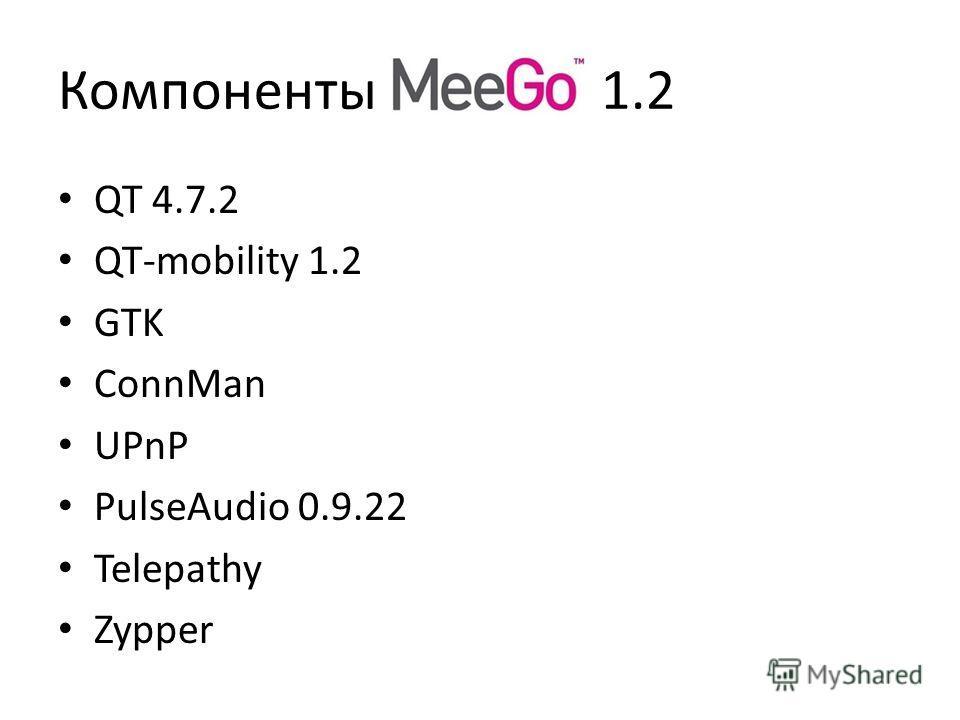 Компоненты 1.2 QT 4.7.2 QT-mobility 1.2 GTK ConnMan UPnP PulseAudio 0.9.22 Telepathy Zypper