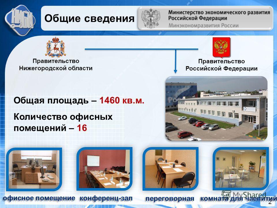 2 Общая площадь – 1460 кв.м. Правительство Нижегородской области Правительство Российской Федерации Количество офисных помещений – 16 Общие сведения