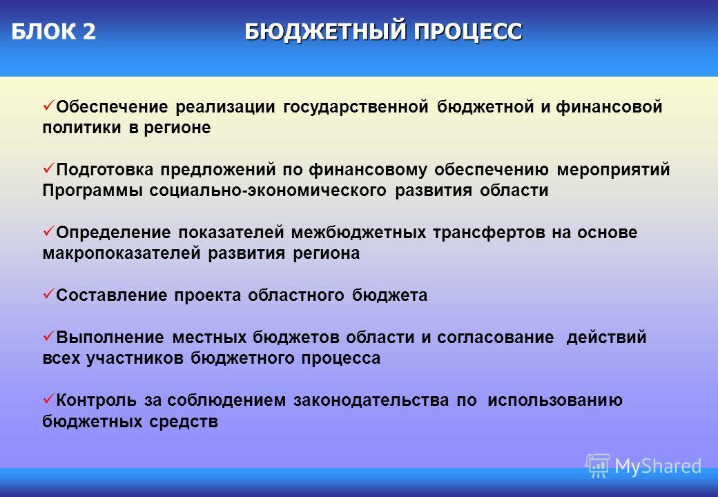 Обеспечение реализации государственной бюджетной и финансовой политики в регионе Подготовка предложений по финансовому обеспечению мероприятий Программы социально-экономического развития области Определение показателей межбюджетных трансфертов на осн