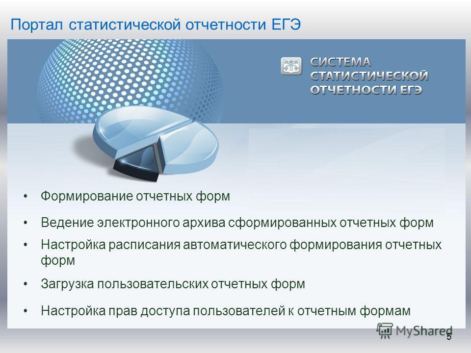 Портал статистической отчетности ЕГЭ Формирование отчетных форм Ведение электронного архива сформированных отчетных форм Настройка расписания автоматического формирования отчетных форм Загрузка пользовательских отчетных форм Настройка прав доступа по