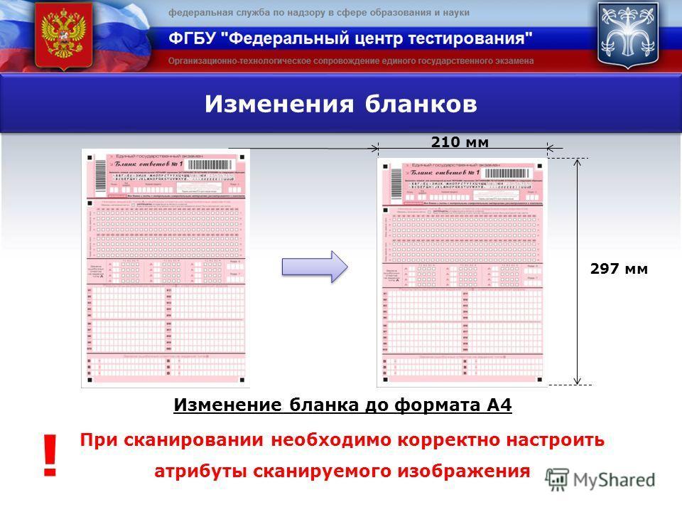 Изменение бланка до формата А4 При сканировании необходимо корректно настроить атрибуты сканируемого изображения Изменения бланков 210 мм 297 мм !