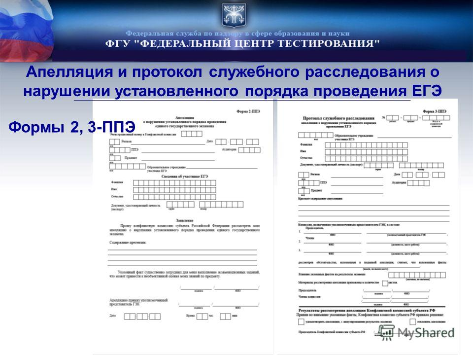 Формы 2, 3-ППЭ Апелляция и протокол служебного расследования о нарушении установленного порядка проведения ЕГЭ