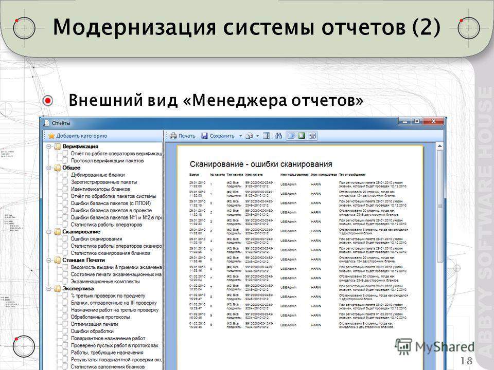 18ABBYY TestReader 5.1 Что нового Модернизация системы отчетов (2) Внешний вид «Менеджера отчетов»