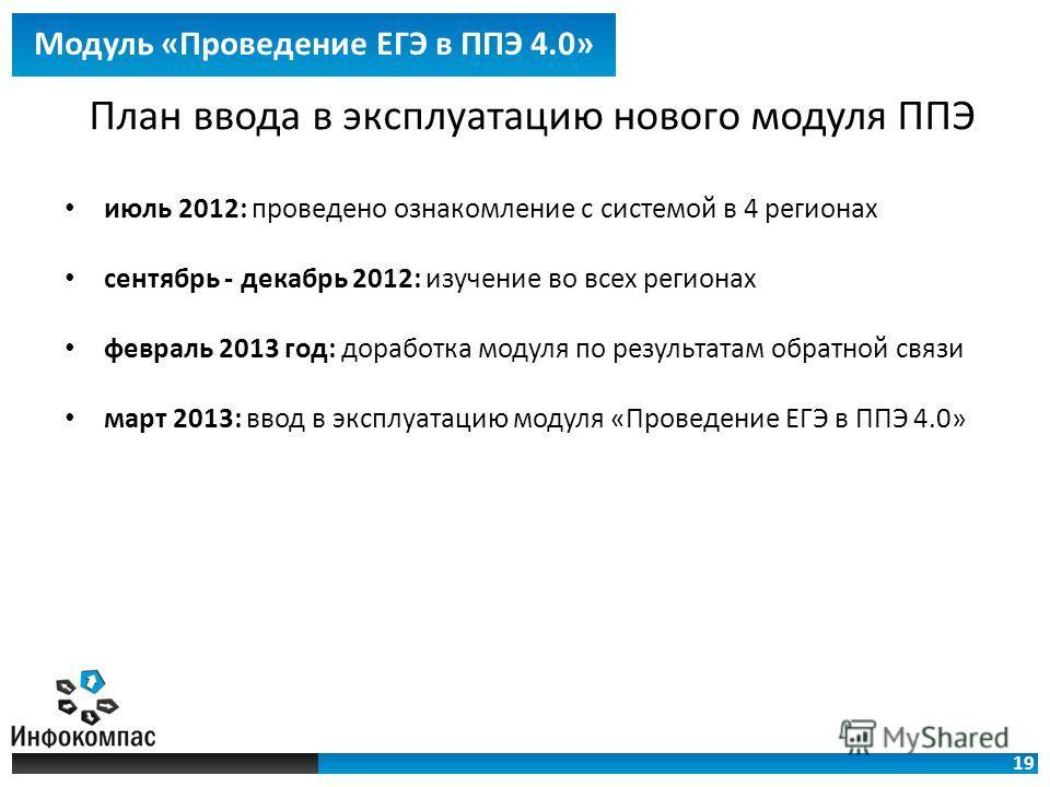 19 Модуль «Проведение ЕГЭ в ППЭ 4.0» План ввода в эксплуатацию нового модуля ППЭ июль 2012: проведено ознакомление с системой в 4 регионах сентябрь - декабрь 2012: изучение во всех регионах февраль 2013 год: доработка модуля по результатам обратной с