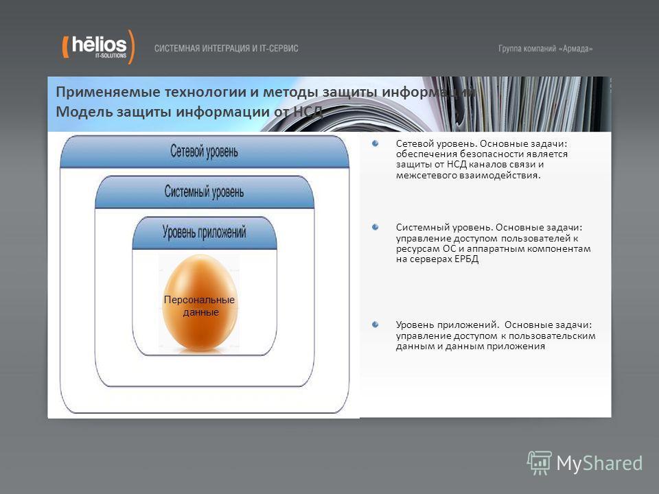 Применяемые технологии и методы защиты информации Модель защиты информации от НСД Сетевой уровень. Основные задачи: обеспечения безопасности является защиты от НСД каналов связи и межсетевого взаимодействия. Системный уровень. Основные задачи: управл
