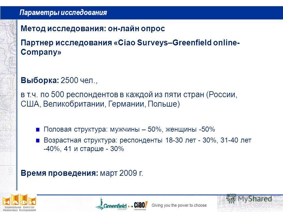 Параметры исследования Метод исследования: он-лайн опрос Партнер исследования «Ciao Surveys–Greenfield online- Company» Выборка: 2500 чел., в т.ч. по 500 респондентов в каждой из пяти стран (России, США, Великобритании, Германии, Польше) Половая стру