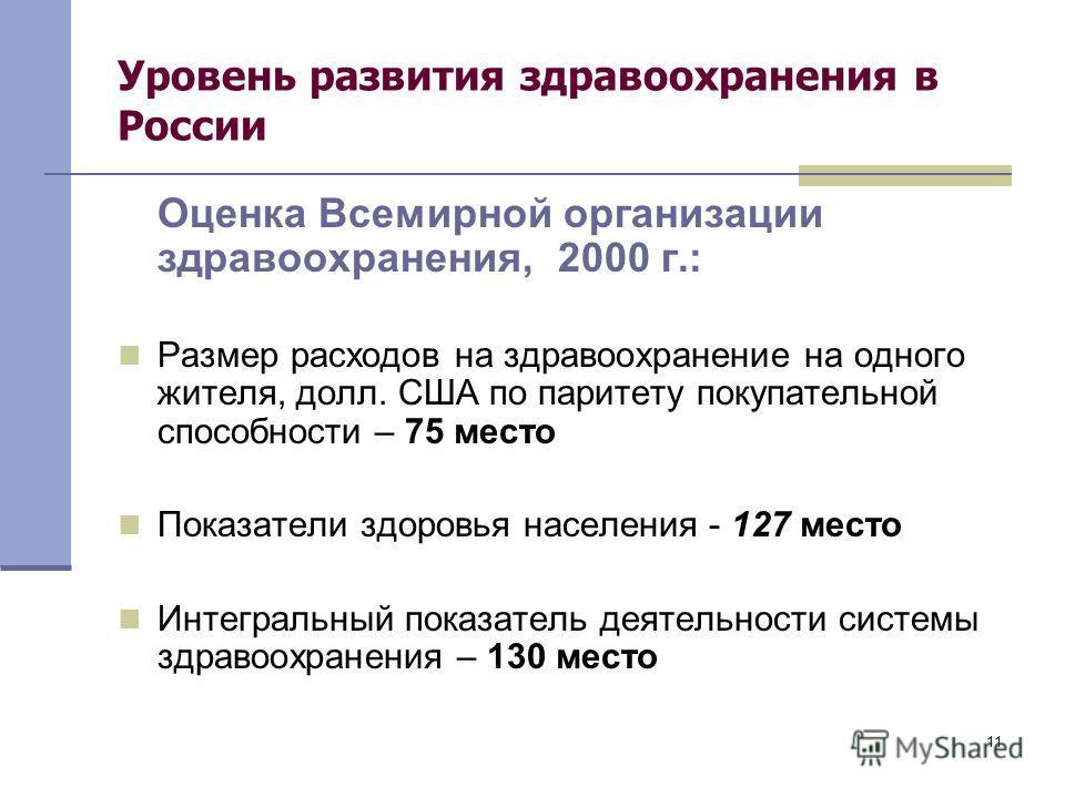 11 Уровень развития здравоохранения в России Оценка Всемирной организации здравоохранения, 2000 г.: Размер расходов на здравоохранение на одного жителя, долл. США по паритету покупательной способности – 75 место Показатели здоровья населения - 127 ме
