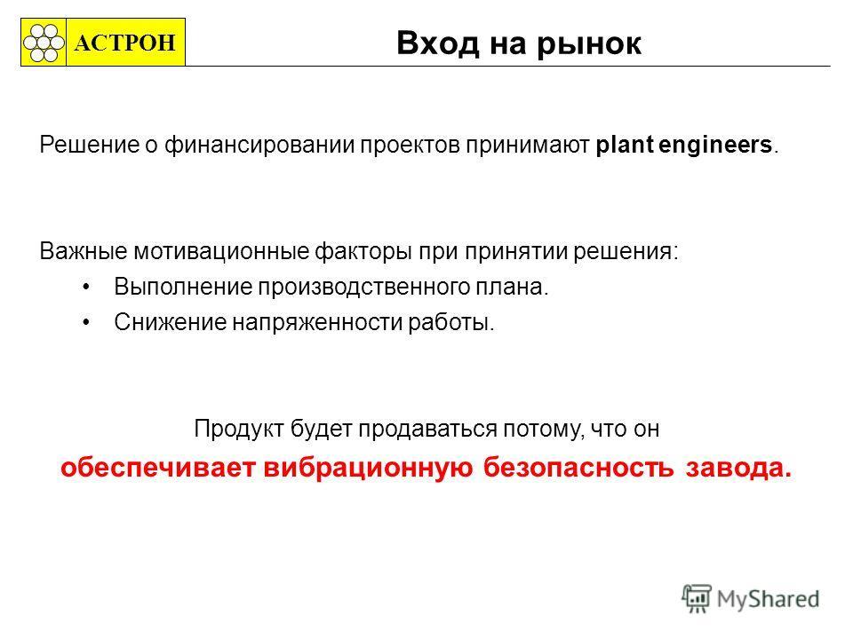Вход на рынок АСТРОН Решение о финансировании проектов принимают plant engineers. Важные мотивационные факторы при принятии решения: Выполнение производственного плана. Снижение напряженности работы. Продукт будет продаваться потому, что он обеспечив