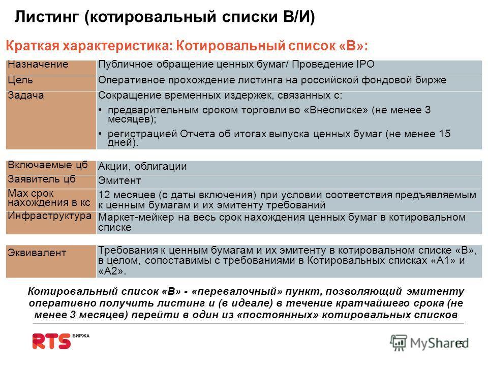 НазначениеПубличное обращение ценных бумаг/ Проведение IPO ЦельОперативное прохождение листинга на российской фондовой бирже Задача Сокращение временных издержек, связанных с: предварительным сроком торговли во «Внесписке» (не менее 3 месяцев); регис