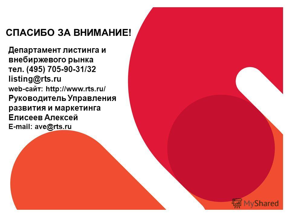 СПАСИБО ЗА ВНИМАНИЕ! Департамент листинга и внебиржевого рынка тел. (495) 705-90-31/32 listing@rts.ru web-сайт: http://www.rts.ru/ Руководитель Управления развития и маркетинга Елисеев Алексей E-mail: ave@rts.ru