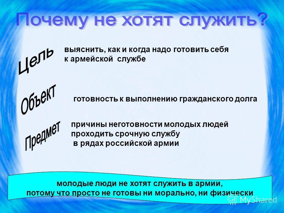 выяснить, как и когда надо готовить себя к армейской службе готовность к выполнению гражданского долга причины неготовности молодых людей проходить срочную службу в рядах российской армии молодые люди не хотят служить в армии, потому что просто не го