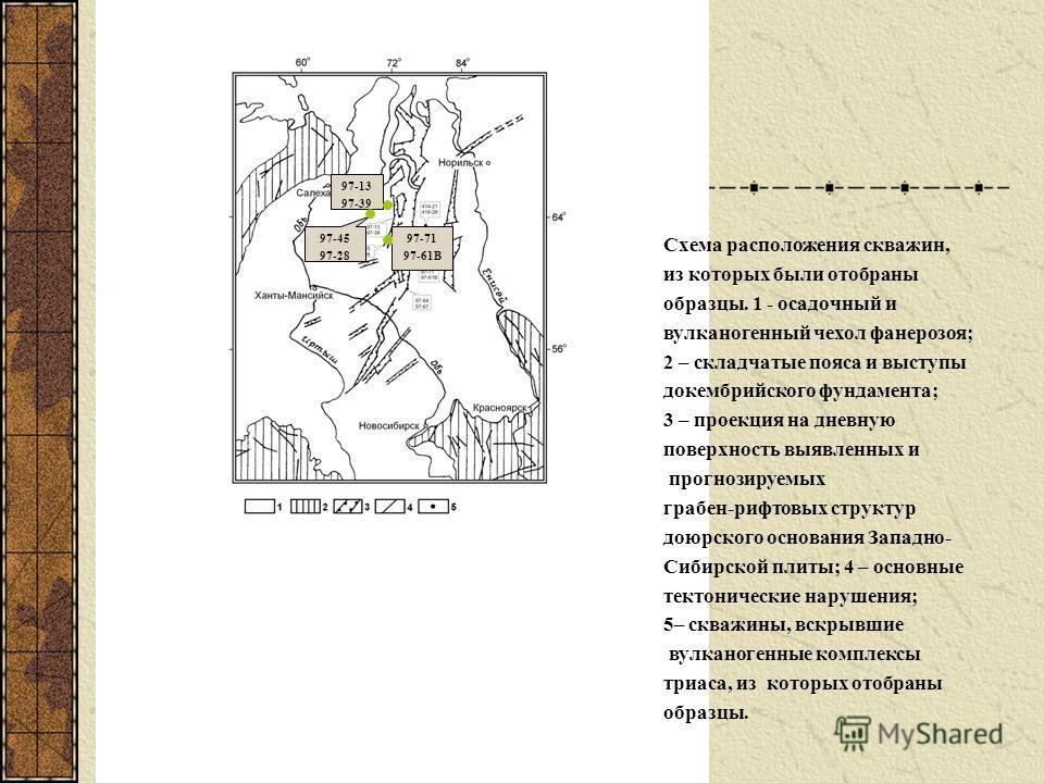 97-13 97-39 97-45 97-28 97-71 97-61В Схема расположения скважин, из которых были отобраны образцы. 1 - осадочный и вулканогенный чехол фанерозоя; 2 – складчатые пояса и выступы докембрийского фундамента; 3 – проекция на дневную поверхность выявленных