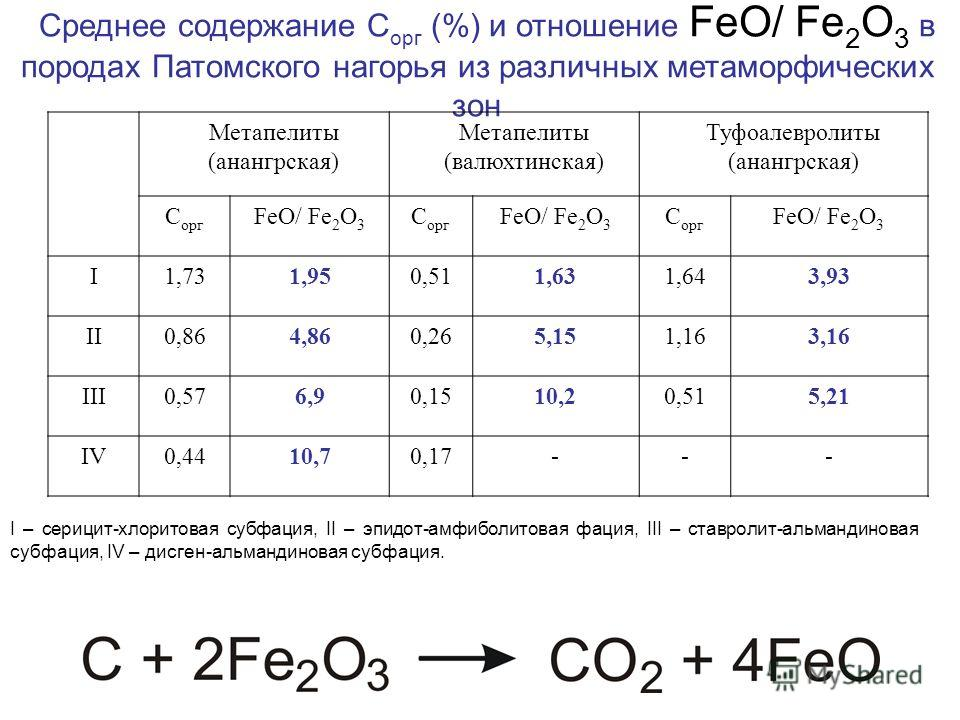 Среднее содержание С орг (%) и отношение FeO/ Fe 2 O 3 в породах Патомского нагорья из различных метаморфических зон Метапелиты (анангрская) Метапелиты (валюхтинская) Туфоалевролиты (анангрская) С орг FeO/ Fe 2 O 3 С орг FeO/ Fe 2 O 3 С орг FeO/ Fe 2