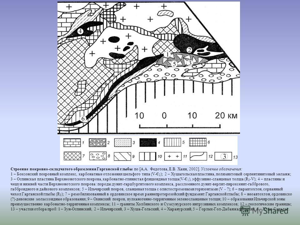 Строение покровно-складчатого обрамления Гарганской глыбы по [А.А. Федотова, Е.В. Хаин, 2002]. Условные обозначения: 1 – Боксонский покровный комплекс, карбонатные отложения шельфого типа (V-Є 2 ); 2 – Хушагольская пластина, полимиктовый серпентинито