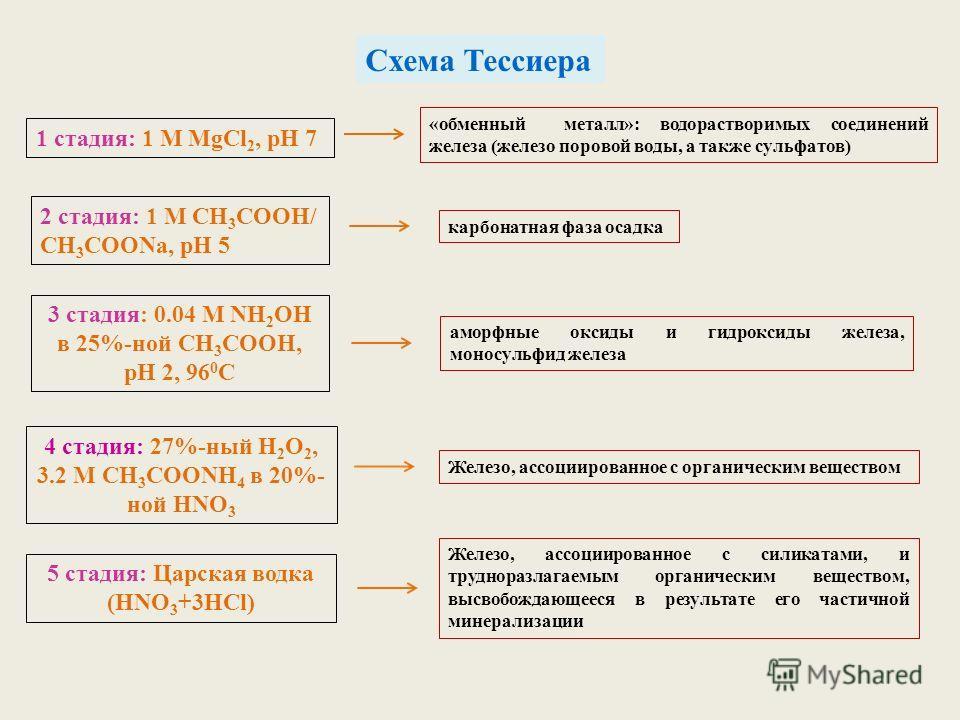 Схема Тессиера 1 стадия: 1 М MgCl 2, pH 7 «обменный металл»: водорастворимых соединений железа (железо поровой воды, а также сульфатов) 2 стадия: 1 М СН 3 СООН/ СН 3 СООNa, рН 5 карбонатная фаза осадка 3 стадия: 0.04 М NH 2 OH в 25%-ной СН 3 СООН, рН