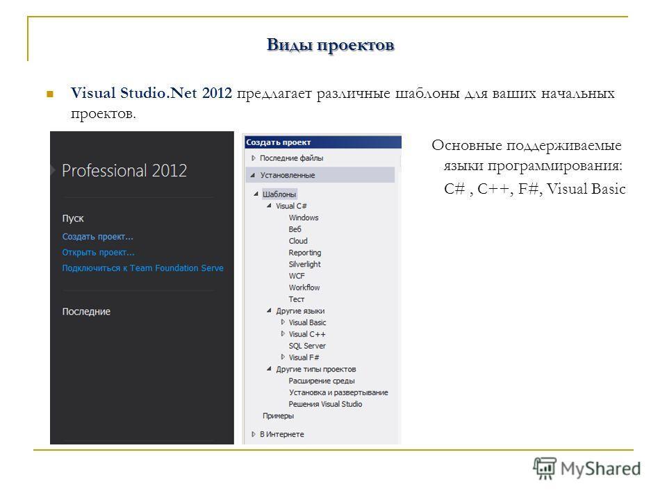Виды проектов Visual Studio.Net 2012 предлагает различные шаблоны для ваших начальных проектов. Основные поддерживаемые языки программирования: С#, C++, F#, Visual Basic