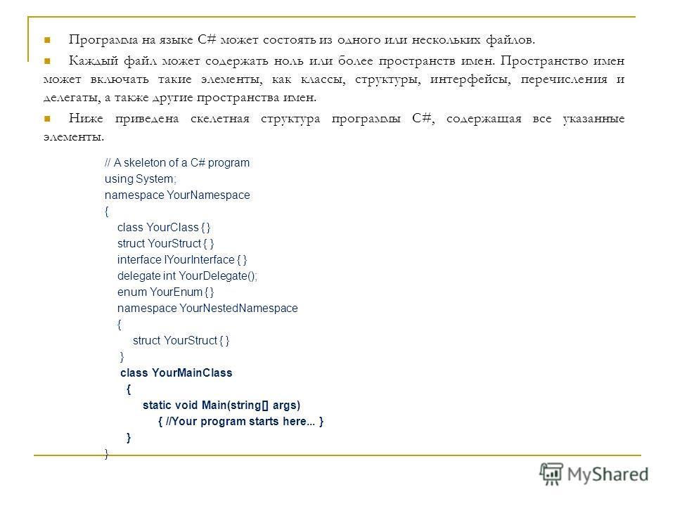 Программа на языке C# может состоять из одного или нескольких файлов. Каждый файл может содержать ноль или более пространств имен. Пространство имен может включать такие элементы, как классы, структуры, интерфейсы, перечисления и делегаты, а также др