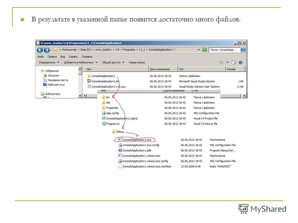 В результате в указанной папке появится достаточно много файлов.