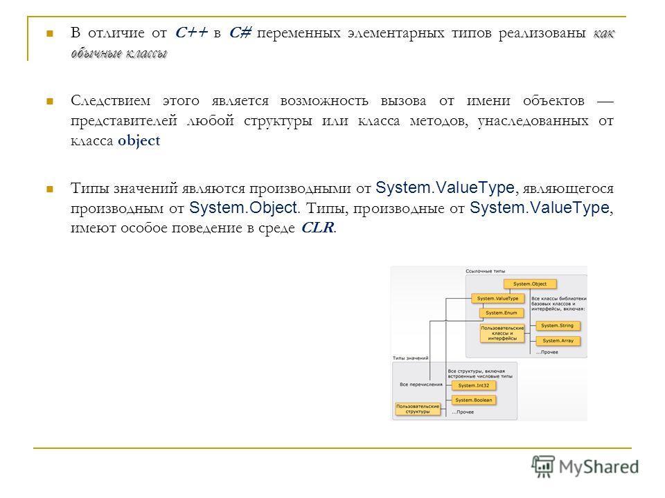 как обычные классы В отличие от С++ в C# переменных элементарных типов реализованы как обычные классы Следствием этого является возможность вызова от имени объектов представителей любой структуры или класса методов, унаследованных от класса object Ти