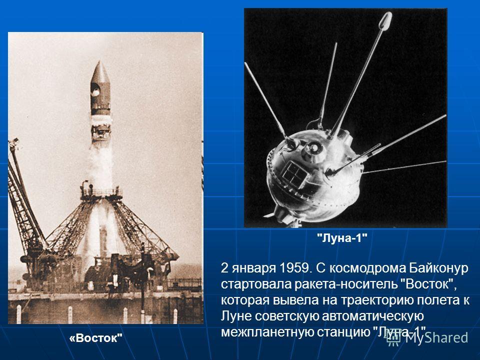 2 января 1959. С космодрома Байконур стартовала ракета-носитель Восток, которая вывела на траекторию полета к Луне советскую автоматическую межпланетную станцию Луна-1. Луна-1 «Восток