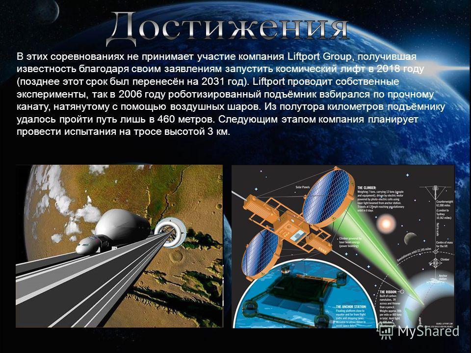 В этих соревнованиях не принимает участие компания Liftport Group, получившая известность благодаря своим заявлениям запустить космический лифт в 2018 году (позднее этот срок был перенесён на 2031 год). Liftport проводит собственные эксперименты, так