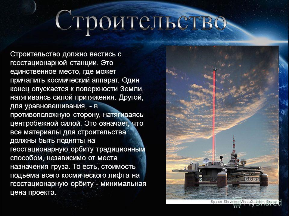 Строительство должно вестись с геостационарной станции. Это единственное место, где может причалить космический аппарат. Один конец опускается к поверхности Земли, натягиваясь силой притяжения. Другой, для уравновешивания, - в противоположную сторону