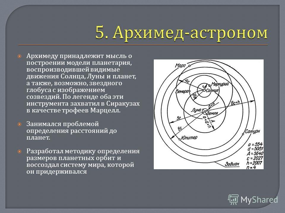 Архимеду принадлежит мысль о построении модели планетария, воспроизводившей видимые движения Солнца, Луны и планет, а также, возможно, звездного глобуса с изображением созвездий. По легенде оба эти инструмента захватил в Сиракузах в качестве трофеев