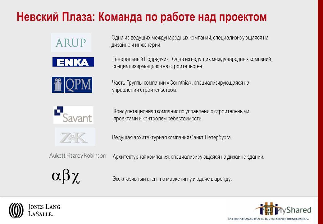 Ведущая архитектурная компания Санкт-Петербурга. Консультационная компания по управлению строительными проектами и контролем себестоимости. Часть Группы компаний «Corinthia», специализирующаяся на управлении строительством. Одна из ведущих международ