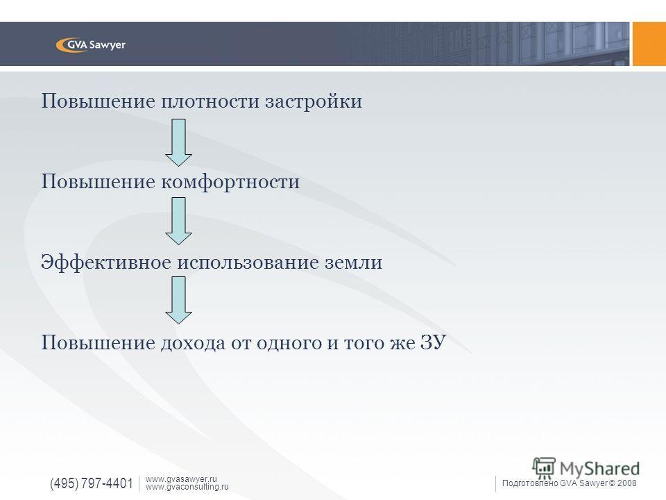 (495) 797-4401 www.gvasawyer.ru www.gvaconsulting.ru Подготовлено GVA Sawyer © 2008 Повышение плотности застройки Повышение комфортности Эффективное использование земли Повышение дохода от одного и того же ЗУ