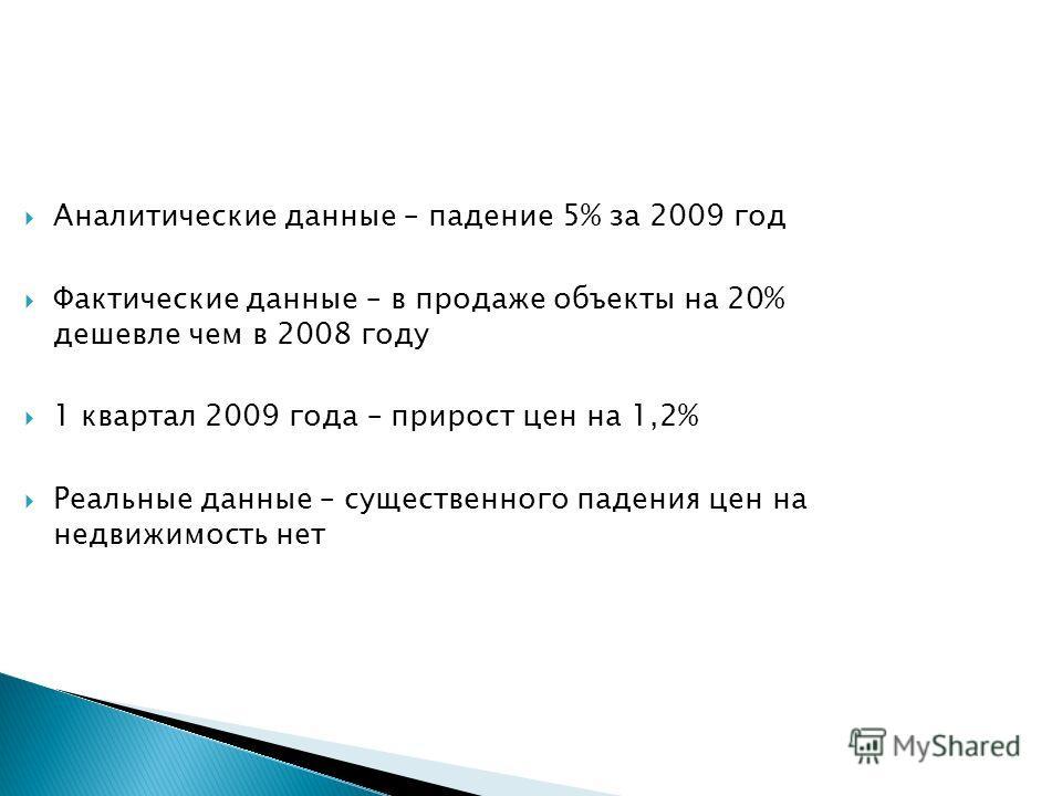 Аналитические данные – падение 5% за 2009 год Фактические данные – в продаже объекты на 20% дешевле чем в 2008 году 1 квартал 2009 года – прирост цен на 1,2% Реальные данные – существенного падения цен на недвижимость нет