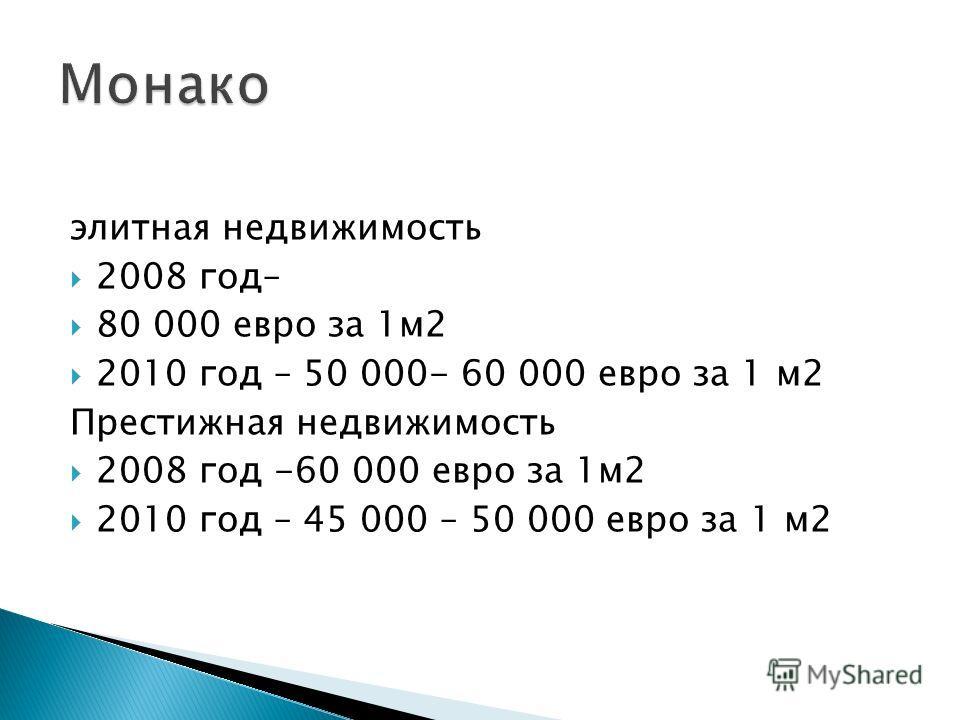 элитная недвижимость 2008 год– 80 000 евро за 1м2 2010 год – 50 000- 60 000 евро за 1 м2 Престижная недвижимость 2008 год -60 000 евро за 1м2 2010 год – 45 000 – 50 000 евро за 1 м2