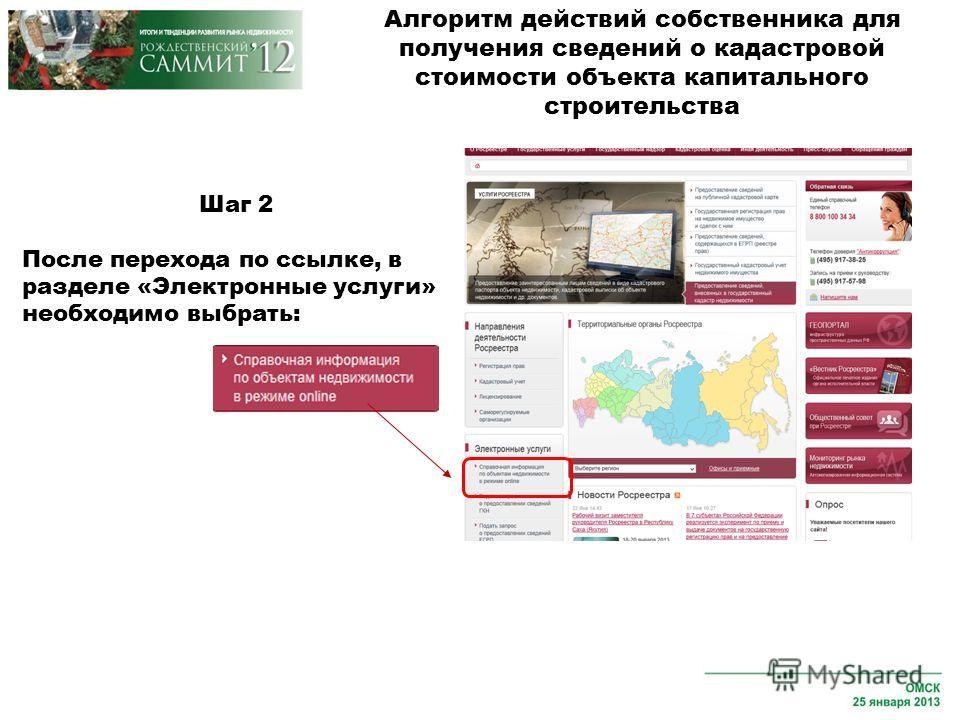 Шаг 2 После перехода по ссылке, в разделе «Электронные услуги» необходимо выбрать: Алгоритм действий собственника для получения сведений о кадастровой стоимости объекта капитального строительства