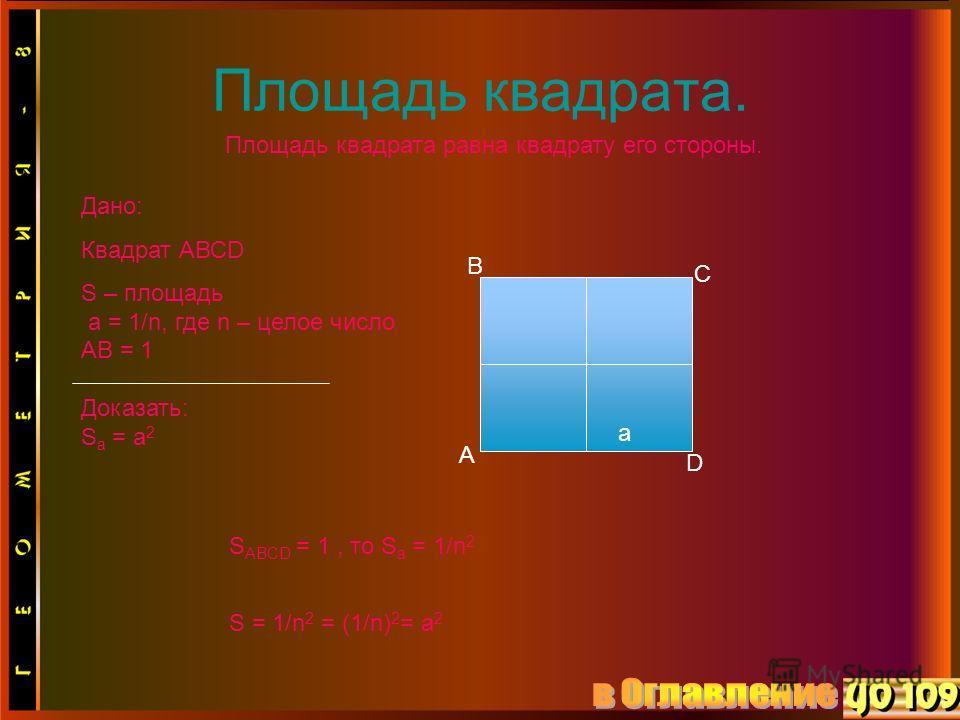 Площадь квадрата. Площадь квадрата равна квадрату его стороны. а Дано: Квадрат АВСD S – площадь а = 1/n, где n – целое число AB = 1 Доказать: S a = a 2 A B C D S ABCD = 1, то S a = 1/n 2 S = 1/n 2 = (1/n) 2 = a 2
