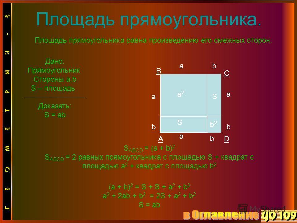 Площадь прямоугольника. Площадь прямоугольника равна произведению его смежных сторон. Дано: Прямоугольник Стороны a,b S – площадь Доказать: S = ab S a b a2a2 aS b2b2 b b ba a S ABCD = (a + b) 2 S ABCD = 2 равных прямоугольника с площадью S + квадрат