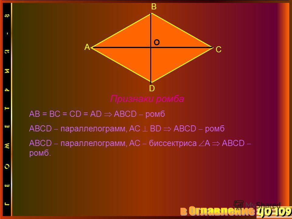 А В С D О Признаки ромба АВ = ВС = СD = АD АВСD ромб АВСD параллелограмм, АС ВD АВСD ромб АВСD параллелограмм, АС биссектриса А АВСD ромб.