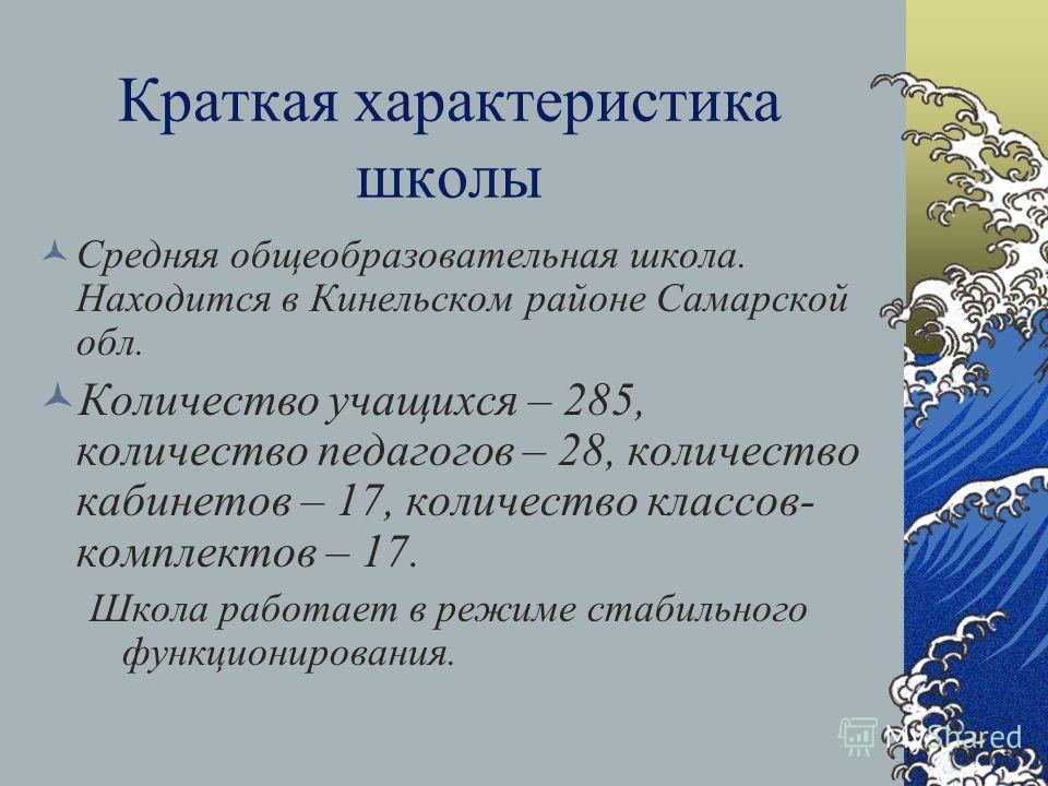 Краткая характеристика школы Средняя общеобразовательная школа. Находится в Кинельском районе Самарской обл. Количество учащихся – 285, количество педагогов – 28, количество кабинетов – 17, количество классов- комплектов – 17. Школа работает в режиме