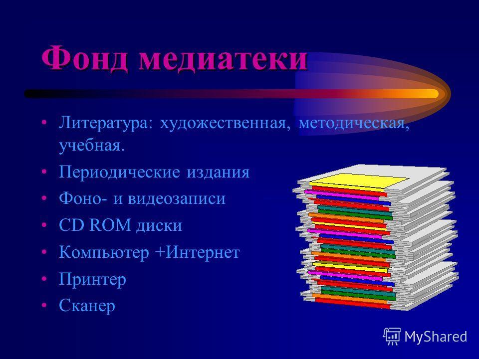 Фонд медиатеки Литература: художественная, методическая, учебная. Периодические издания Фоно- и видеозаписи CD ROM диски Компьютер +Интернет Принтер Сканер