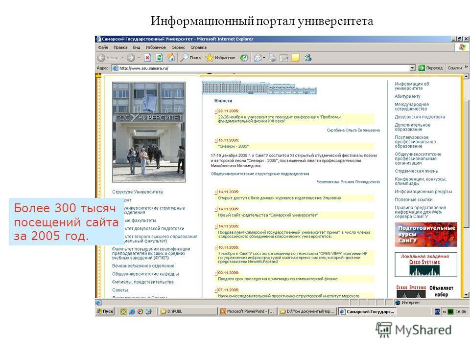 Информационный портал университета. Более 300 тысяч посещений сайта за 2005 год.