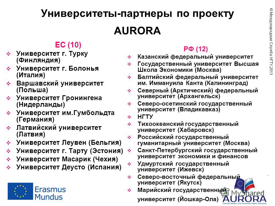 Университеты-партнеры по проекту AURORA ЕС (10) Университет г. Турку (Финляндия) Университет г. Болонья (Италия) Варшавский университет (Польша) Университет Гронингена (Нидерланды) Университет им.Гумбольдта (Германия) Латвийский университет (Латвия)