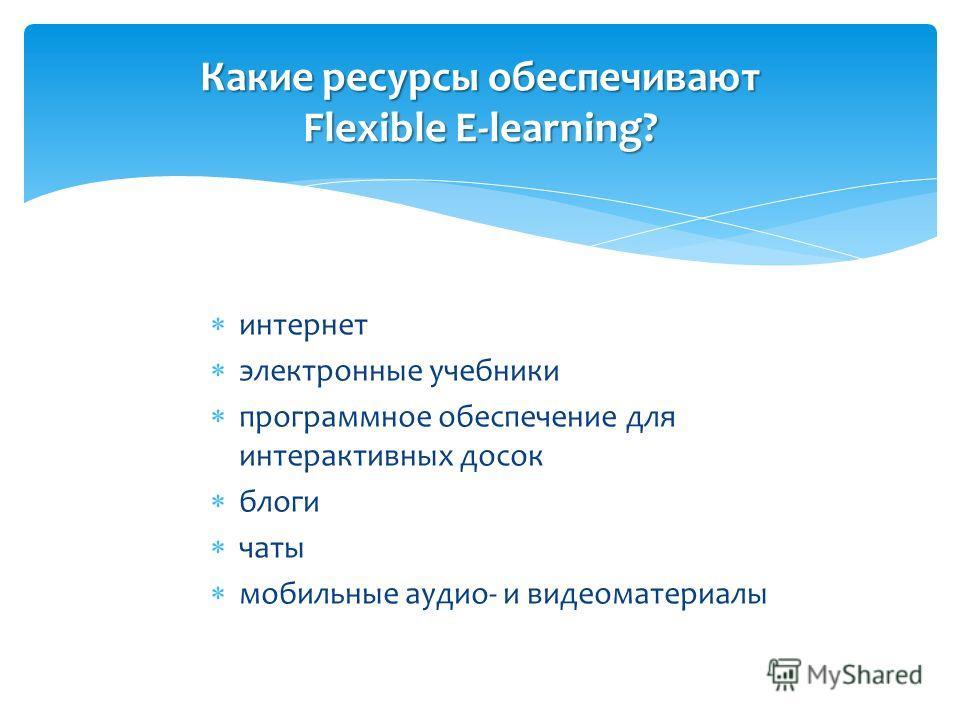 интернет электронные учебники программное обеспечение для интерактивных досок блоги чаты мобильные аудио- и видеоматериалы Какие ресурсы обеспечивают Flexible E-learning?