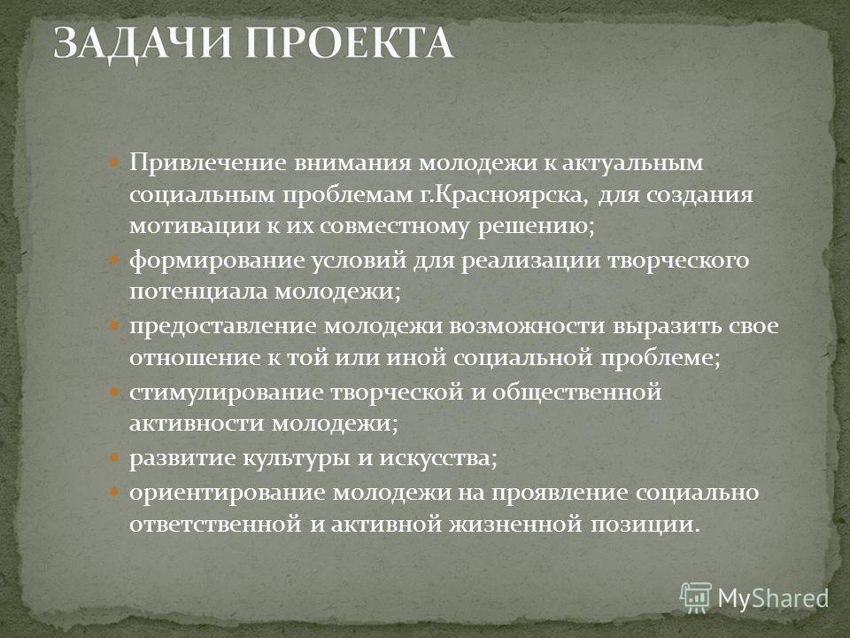 Привлечение внимания молодежи к актуальным социальным проблемам г.Красноярска, для создания мотивации к их совместному решению; формирование условий для реализации творческого потенциала молодежи; предоставление молодежи возможности выразить свое отн