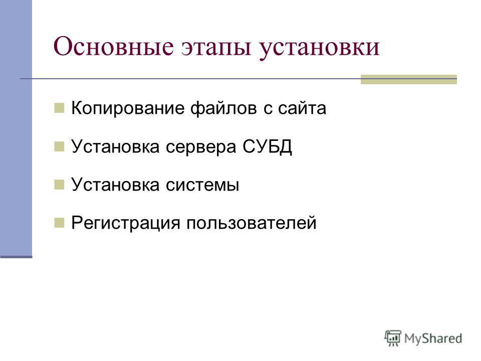 Основные этапы установки Копирование файлов с сайта Установка сервера СУБД Установка системы Регистрация пользователей