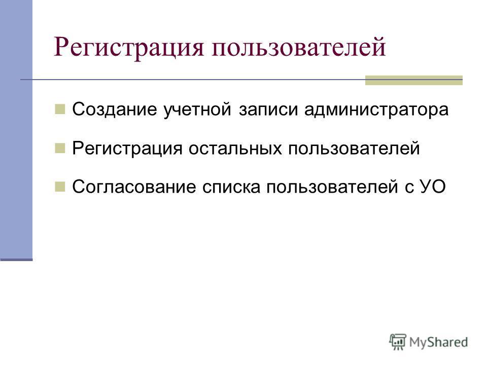 Создание учетной записи администратора Регистрация остальных пользователей Согласование списка пользователей с УО