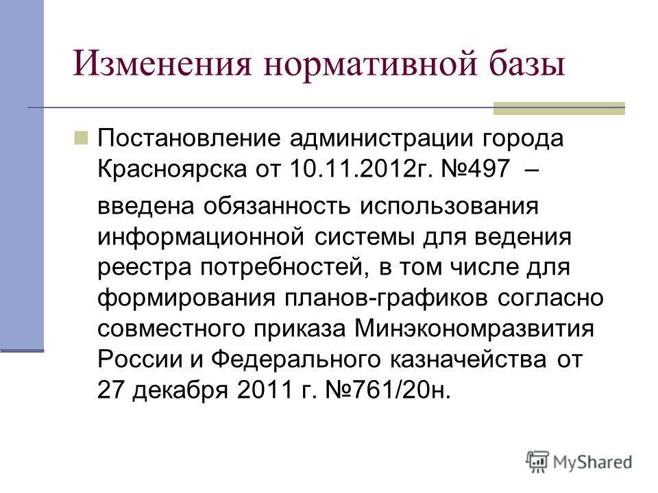 Изменения нормативной базы Постановление администрации города Красноярска от 10.11.2012г. 497 – введена обязанность использования информационной системы для ведения реестра потребностей, в том числе для формирования планов-графиков согласно совместно